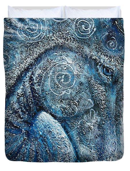 Swirling Spiraling Snow Duvet Cover