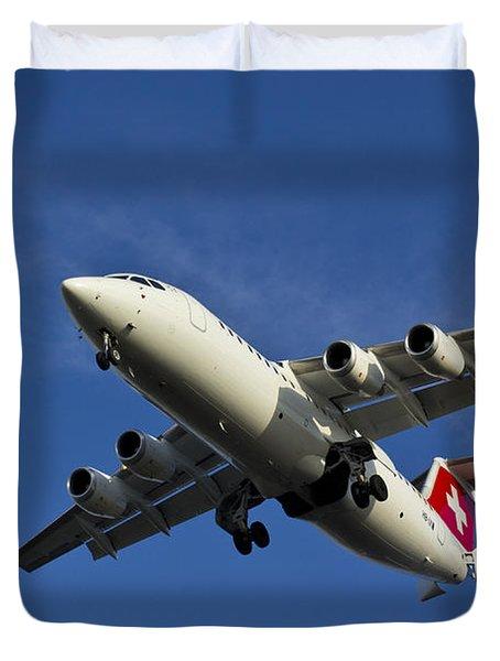 Swiss Air Bae 146 Duvet Cover by David Pyatt