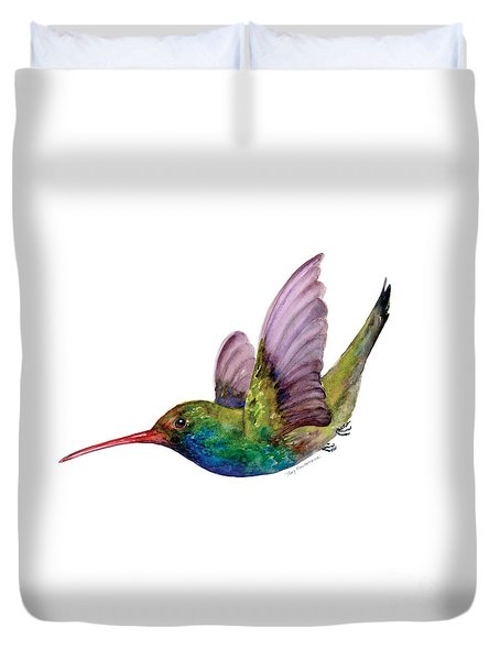 Swooping Broad Billed Hummingbird Duvet Cover by Amy Kirkpatrick