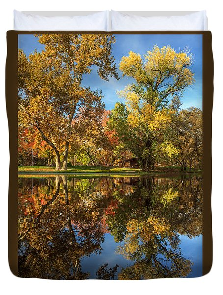 Sycamore Pool Reflections Duvet Cover by James Eddy