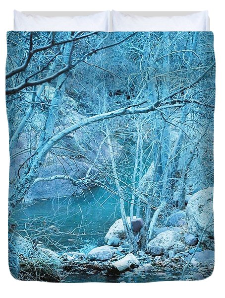 Sycamores And River Duvet Cover