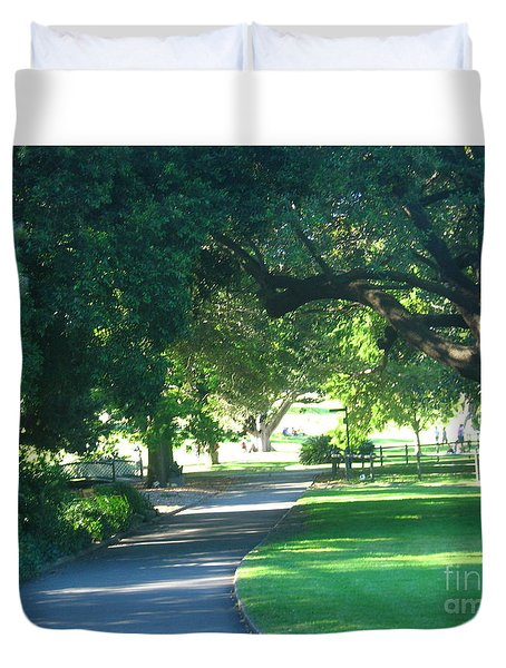 Duvet Cover featuring the photograph Sydney Botanical Gardens Walk by Leanne Seymour