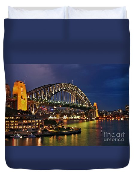 Sydney Harbour Bridge By Night Duvet Cover by Kaye Menner