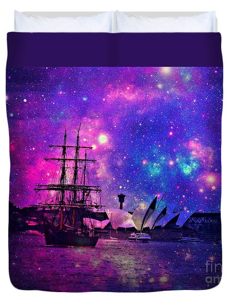 Sydney Harbour Through Time And Space Duvet Cover by Leanne Seymour