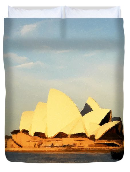 Sydney Opera House Painting Duvet Cover by Pixel Chimp