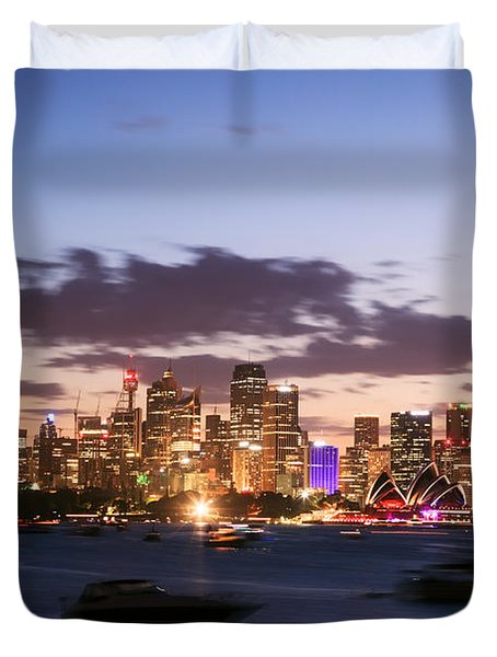 Sydney Skyline At Dusk Australia Duvet Cover