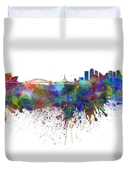 Sydney Skyline In Watercolor On White Background Duvet Cover