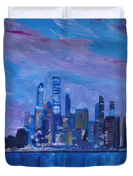 Sydney Skyline With Opera House At Dusk Duvet Cover by M Bleichner