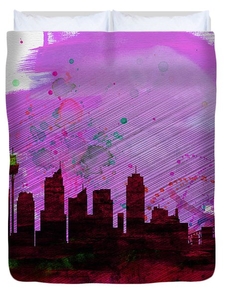 Sydney Watercolor Skyline 2 Duvet Cover
