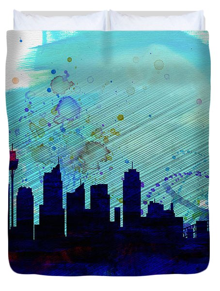 Sydney Watercolor Skyline Duvet Cover