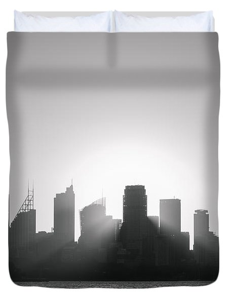 Sydney's Evening B/w Duvet Cover
