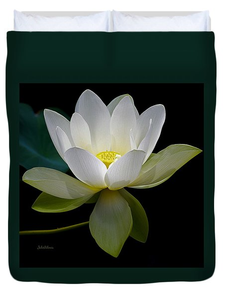 Symbolic White Lotus Duvet Cover