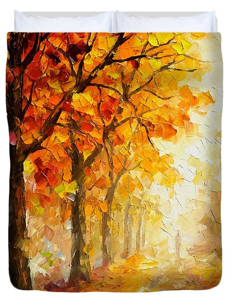 Symbols Of Autumn - Palette Knife Oil Painting On Canvas By Leonid Afremov Duvet Cover
