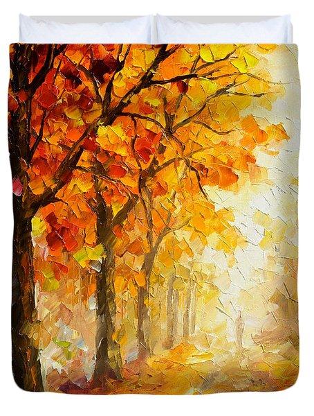 Symbols Of Autumn - Palette Knife Oil Painting On Canvas By Leonid Afremov Duvet Cover by Leonid Afremov