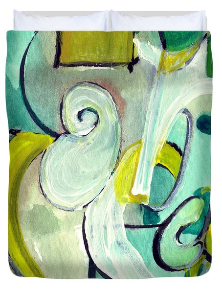 Duvet Cover featuring the painting Symphony In Green by Stephen Lucas