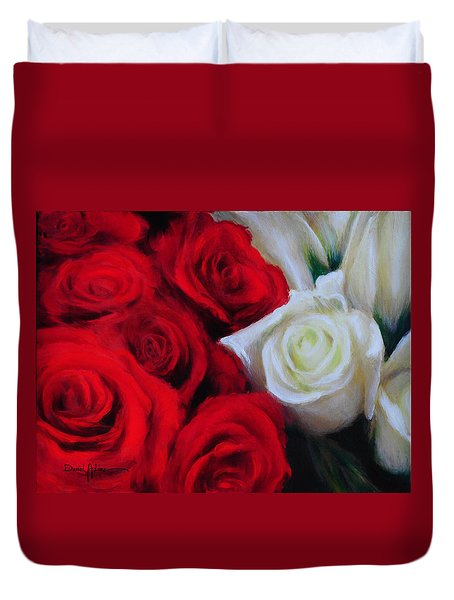 Da143 Symphony In Red And White By Daniel Adams Duvet Cover