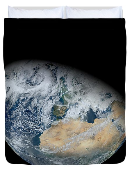 Synthesized View Of Earth Showing North Duvet Cover by Stocktrek Images