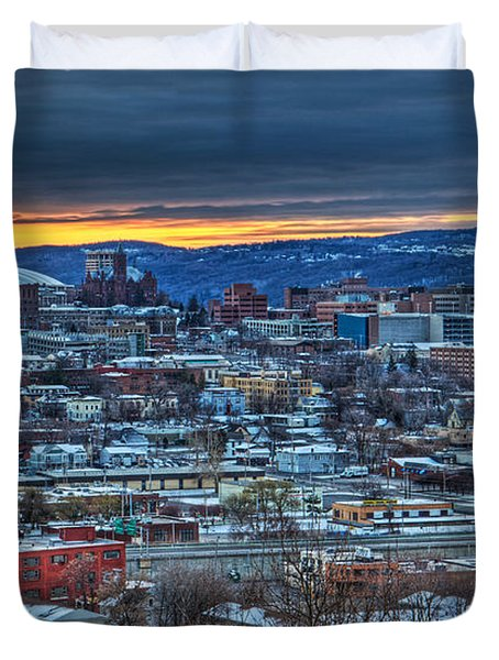 Syracuse At Sunset Duvet Cover