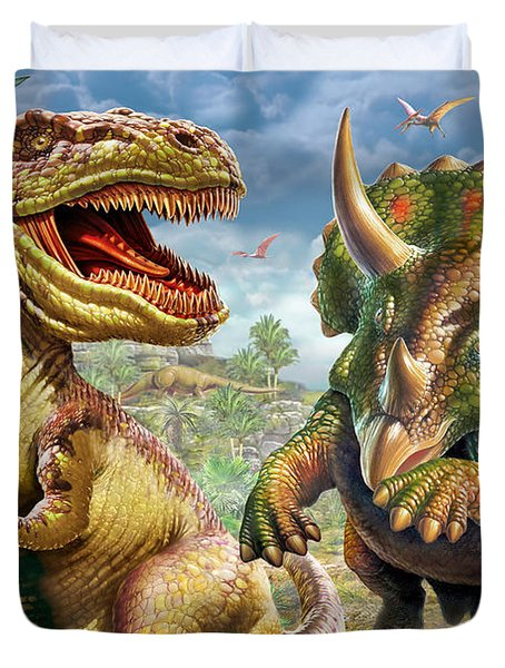 T-rex And Triceratops Duvet Cover