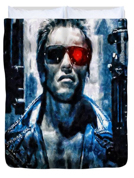 T800 Terminator Duvet Cover by Joe Misrasi