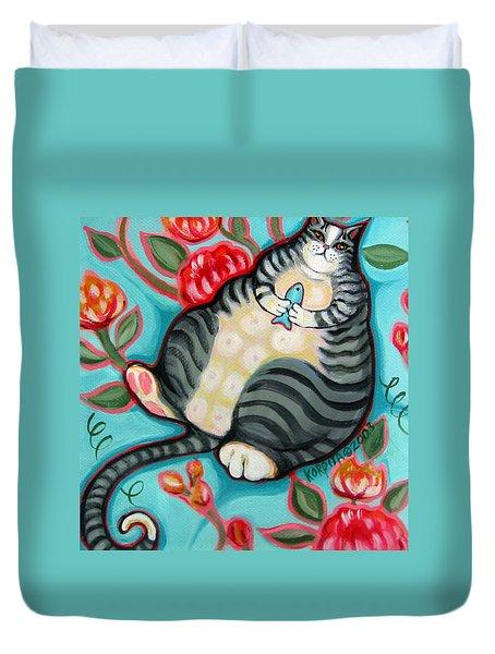 Tabby Cat On A Cushion Duvet Cover