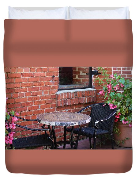 Duvet Cover featuring the photograph Table For Two by Cynthia Guinn