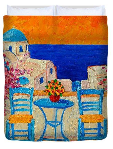 Table For Two In Santorini Greece Duvet Cover