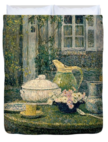 Table Laden For Spring Duvet Cover by Henry Eugene Le Sidaner
