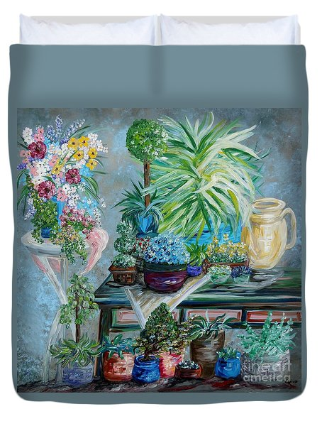Table Of A Plant Lover Duvet Cover by Eloise Schneider