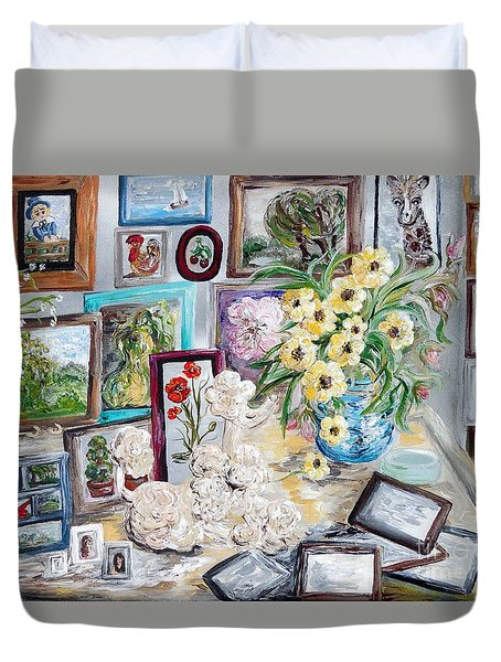 Table Of An Art Enthusiast Duvet Cover by Eloise Schneider