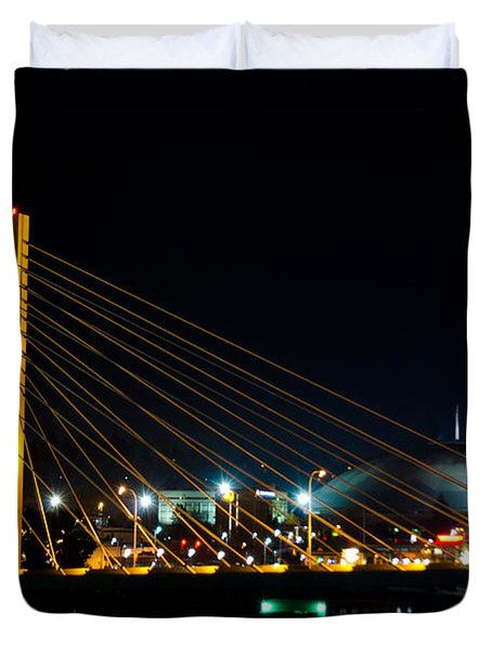 Duvet Cover featuring the photograph Tacoma Dome And Bridge by Tikvah's Hope