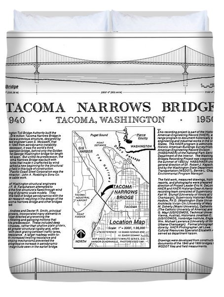 Tacoma Narrows Bridge Habs P1 Duvet Cover by Photo Researchers