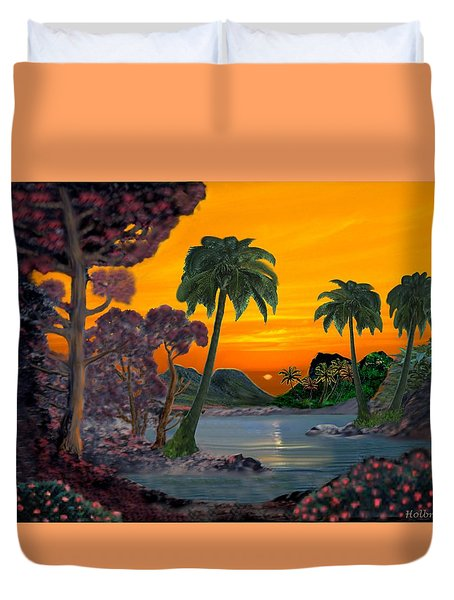 Tahitian Sunset Duvet Cover by Glenn Holbrook