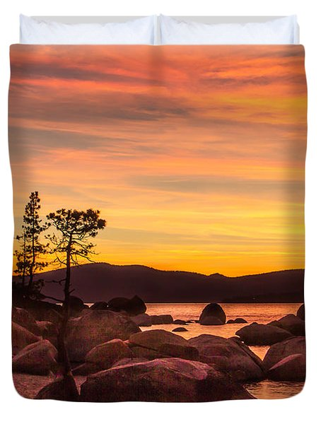 Duvet Cover featuring the photograph Tahoe Golden Sunset by Steven Bateson