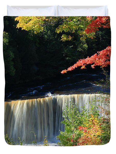 Tahquamenon Falls Autumn Duvet Cover by Rachel Cohen