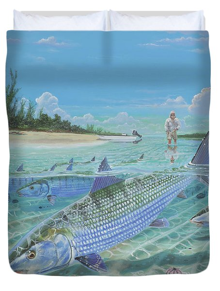 Tailing Bonefish In003 Duvet Cover