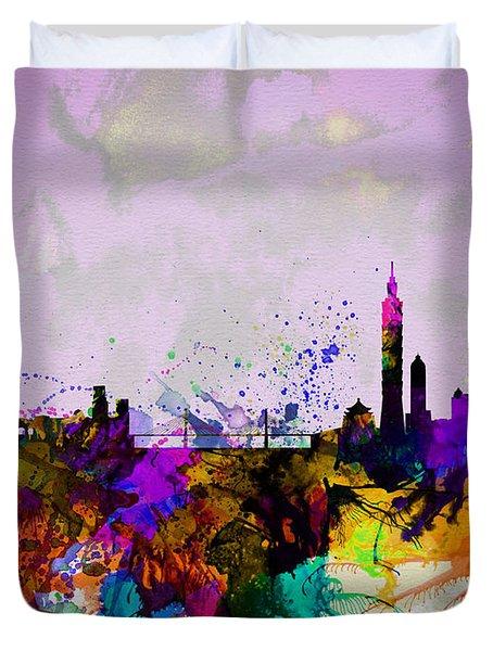 Taipei Watercolor Skyline Duvet Cover