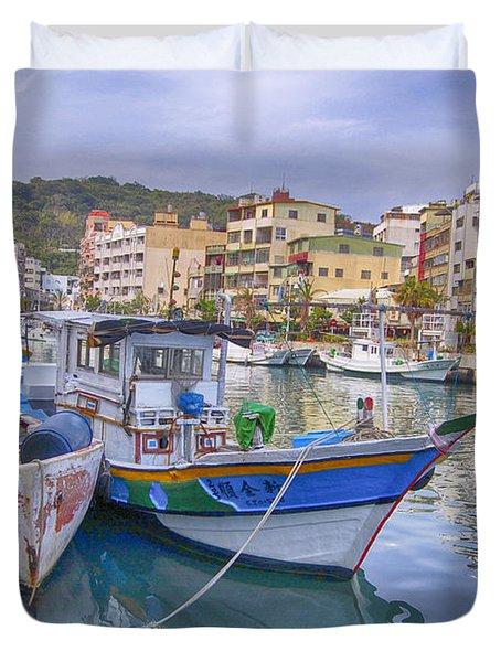 Taiwan Boats Duvet Cover