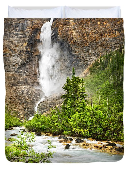 Takakkaw Falls Waterfall In Yoho National Park Canada Duvet Cover by Elena Elisseeva