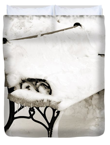 Take A Seat  And Chill Out - Park Bench - Winter - Snow Storm Bw Duvet Cover by Andee Design