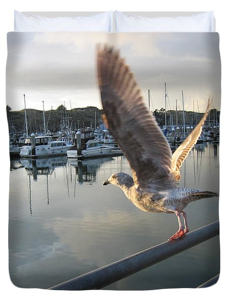 Duvet Cover featuring the drawing Take Flight by Dianne Levy