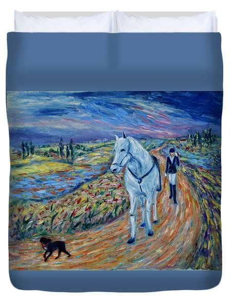 Duvet Cover featuring the painting Take Me Home My Friend by Xueling Zou