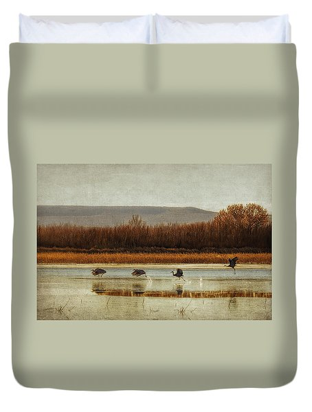 Takeoff Of The Cranes Duvet Cover by Priscilla Burgers