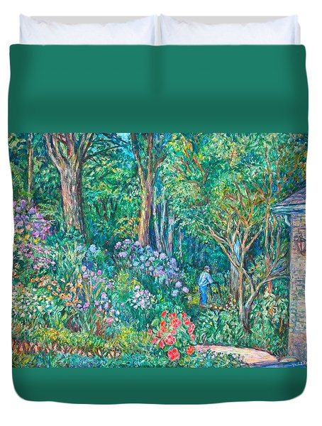 Duvet Cover featuring the painting Taking A Break by Kendall Kessler