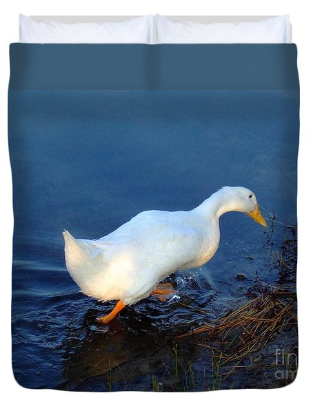 Duvet Cover featuring the photograph Taking A Walk by Bob Sample