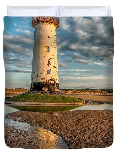 Talacre Lighthouse Sunset Duvet Cover