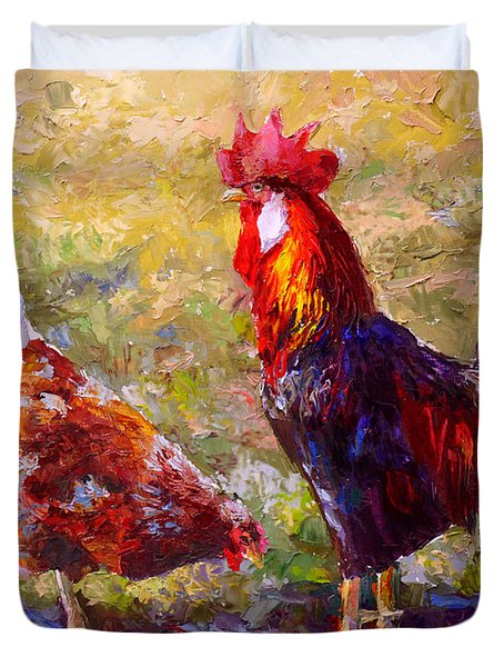 Rooster And Hen Farm Art Chicken Painting  Duvet Cover