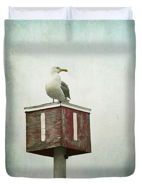 Duvet Cover featuring the photograph Gull With Blue And Red by Brooke T Ryan