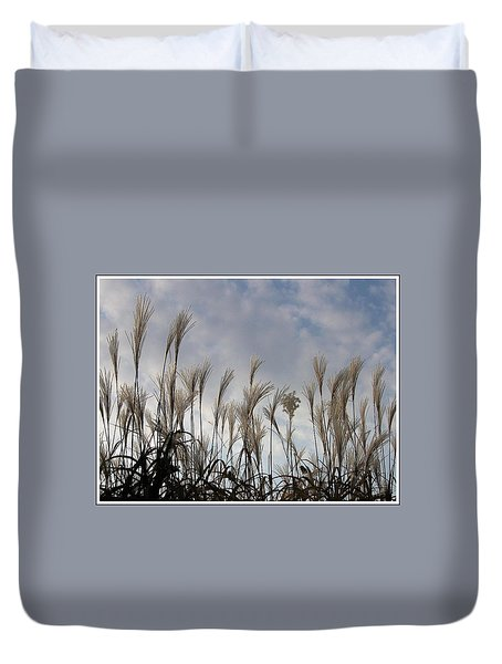 Tall Grasses And Blue Skies Duvet Cover by Dora Sofia Caputo Photographic Art and Design