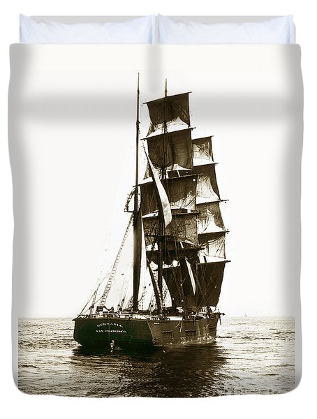 Duvet Cover featuring the photograph Tall Ship Germania Out Of San Francisco California  Circa 1900 by California Views Mr Pat Hathaway Archives